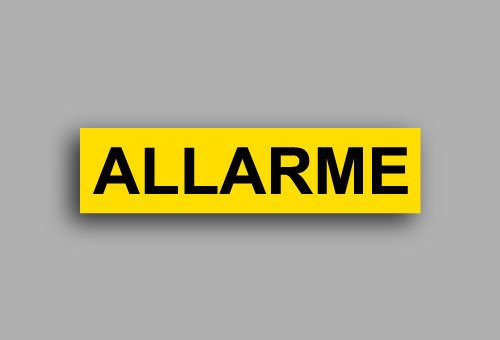 Etichette per impianti elettrici | Allarme