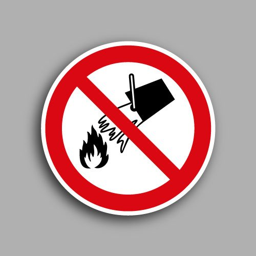 Etichetta con simbolo ISO 7010 P011 vietato spegnere con l'acqua