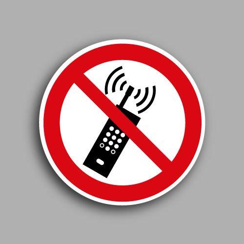 Etichetta con simbolo ISO 7010 P013 | Vietato tenere i telefoni accesi