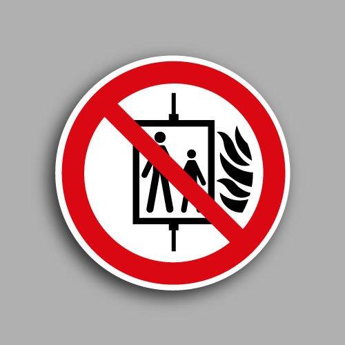 Etichetta con simbolo ISO 7010 P020 | Vietato l'uso dell'accensore in caso di incendio