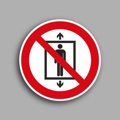 Etichetta con simbolo ISO 7010 P027 | Vietato l'uso dell'ascensore