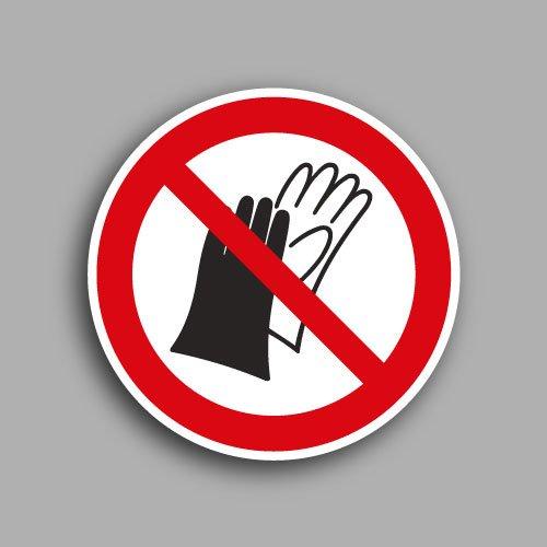 Etichetta con simbolo ISO 7010 P028 | Vietato indossare i guanti