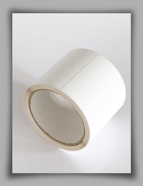 Etichette adesive in poliestere bianco su rotolo per stampanti a trasferimento termico