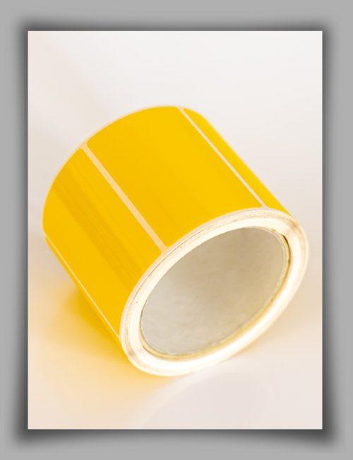 Rotolo di etichette in poliestere giallo per stampanti a trasferimento termico