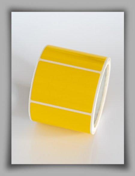 Rotolo lo di etichette in vinile giallo resistente ad altre temperature