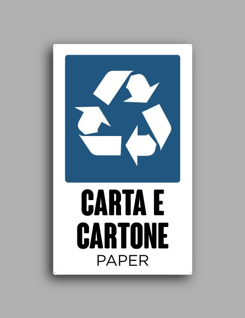 Cartello raccolta differenziata di carta e cartone