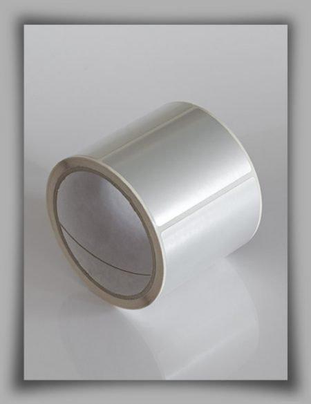rotolo di etichette in poliestere adesivo argentato lucido