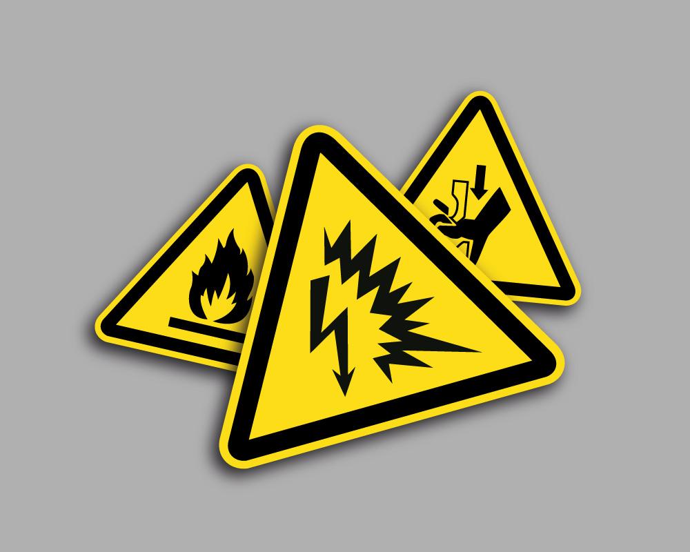 Pittogrammi di pericolo in pellicola adesiva