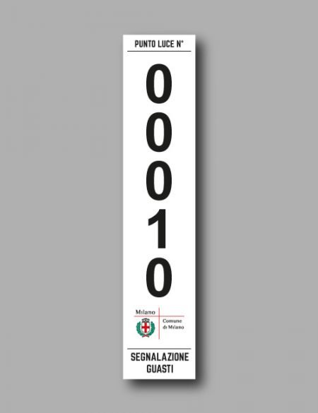 Etichetta palo per l'identificazione, censimento e segnalazione guasti dell'illuminazione pubblica con numero punto luce
