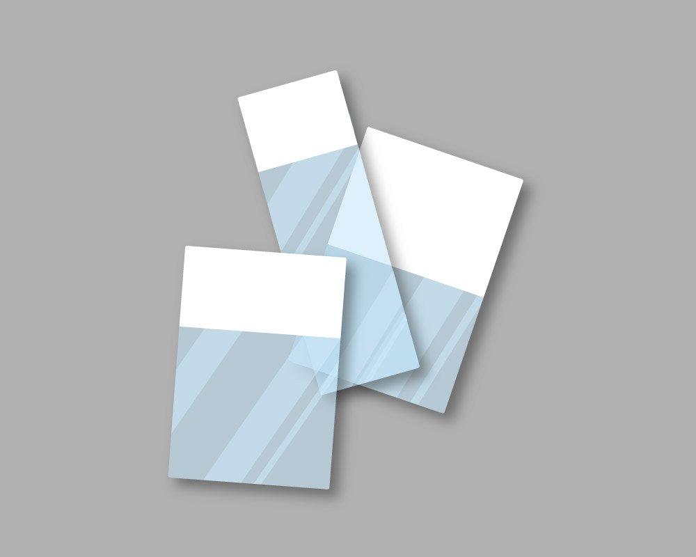 Etichette marcafilo autolaminanti in pellicola adesiva con parte stampabile di colore bianco