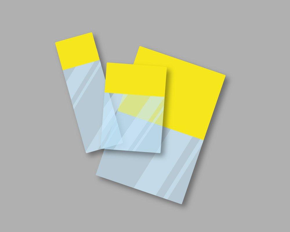 Etichette marcafilo autolaminanti in pellicola adesiva con area stampabile di colore giallo