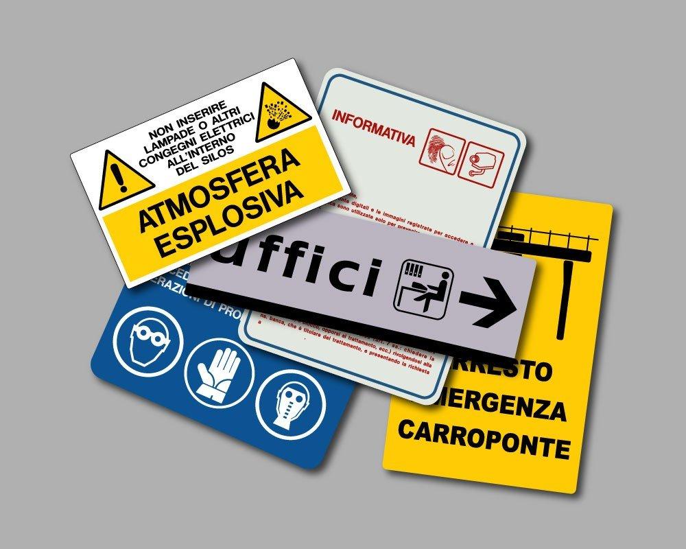 cartelli personalizzati in alluminio e pellicola adesiva