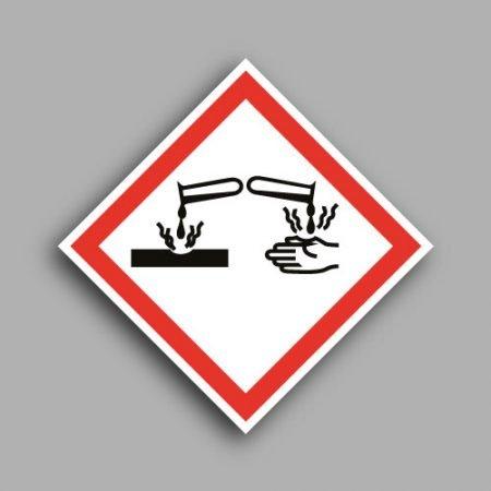Pittogramma con simbolo GHS05 | Materiali corrosivi