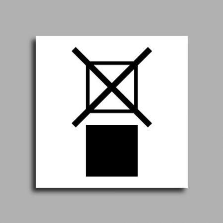 Etichetta di spedizione che indica il divieto di sovrapporre un pacco al di sopra del pacco etichettato