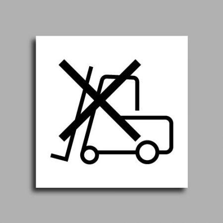 Etichetta per colli che indica il divieto di trasporto con muretti