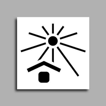 Etichetta per spedizioni che indica di non esporre il pacco a fonti di calore