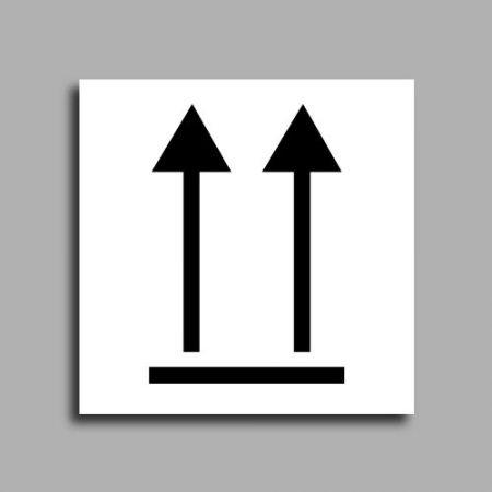 Etichetta di spedizione | Immagine prestampata, due frecce rivolta verso alto | Indica il verso in cui deve essere conservato il pacco