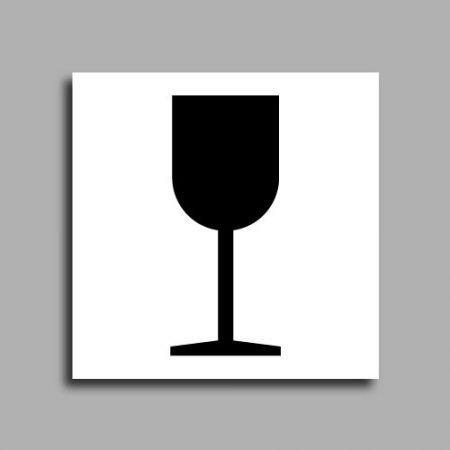 Etichetta di spedizione | Immagine prestampata bicchiere | Indica un pacco con contenuto fragile