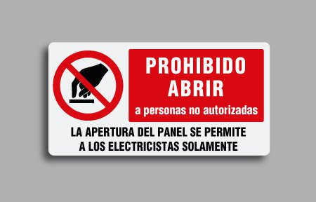 Etichette di divieto per impianti elettrici. Prohibibo abrir a personas no autorizadas