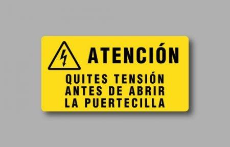 Etichette per quadri elettrici con simbolo W012 e testo in spagnolo