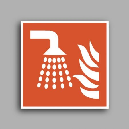 Simbolo ISO 7010 F011 | Sistema estinzione incendio con acqua nebulizzata