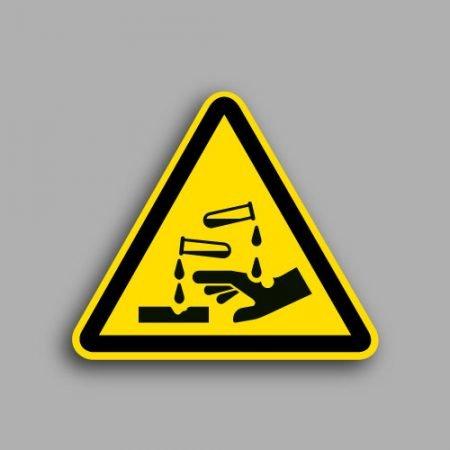 Etichetta con simbolo ISO 7010 W023 | Pericolo sostanze corrosive