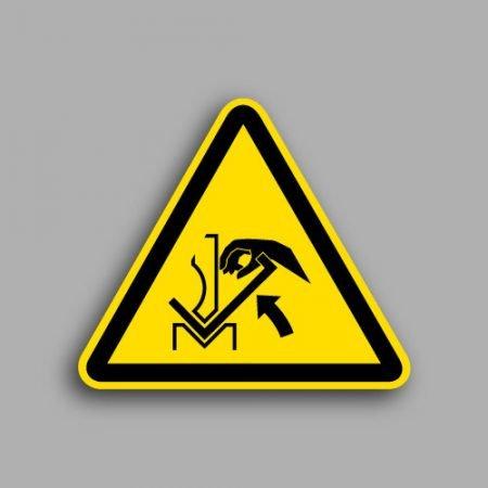 Etichetta con simbolo ISO 7010 W031 | Pericolo schiacciamento mani tra pressa e materiale