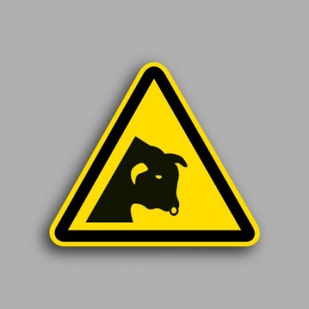 Etichetta con simbolo ISO 7010 W034 | Pericolo toro