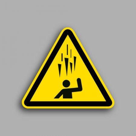 Simbolo W039 etichetta triangolare che segnala il pericolo caduta di ghiaccio dall'alto