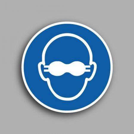 Etichetta con simbolo ISO 7010 M007 | Obbligatorio indossare gli occhiali con lenti opache