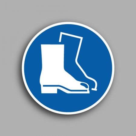Etichetta con simbolo ISO 7010 M008 | Obbligatorio indossare le calzature di sicurezza