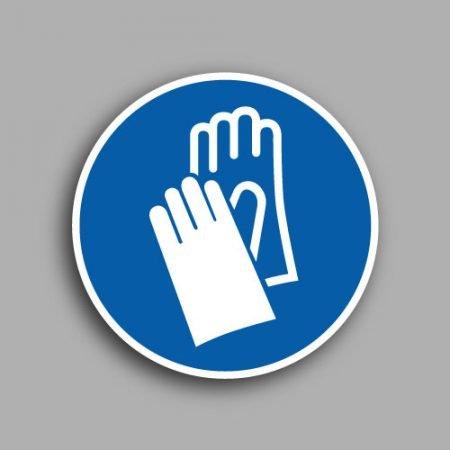 Etichetta con simbolo ISO 7010 M009 | Obbligatorio indossare i guanti protettivi
