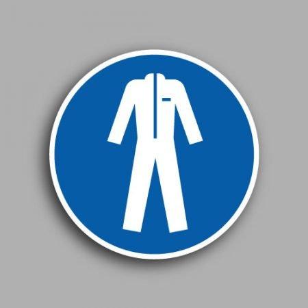 Etichetta con simbolo ISO 7010 M010 | Obbligatorio indossare gli indumenti protettivi