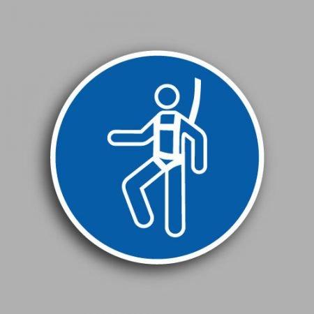 Etichetta con simbolo ISO 7010 M018 | Obbligatorio indossare l'imbracatura di sicurezza