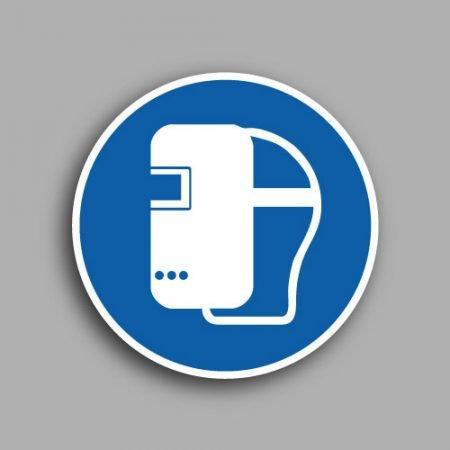 Etichetta con simbolo ISO 7010 M001 | Obbligatorio indossare la maschera di saldatura