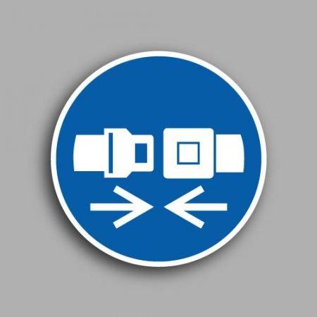 Etichetta con simbolo ISO 7010 M020 obbligatorio indossare la cintura di sicurezza