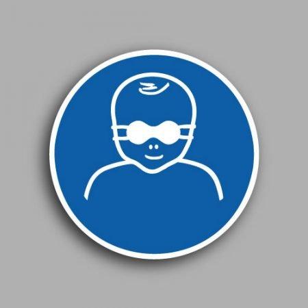 Etichetta con simbolo ISO 7010 M025 | Obbligatorio proteggere i bambini con gli occhiali opachi