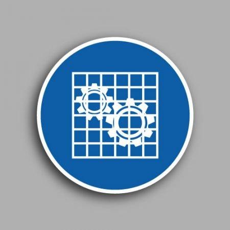 Etichetta con simbolo ISO 7010 M027 | Obbligatorio controllare le protezioni
