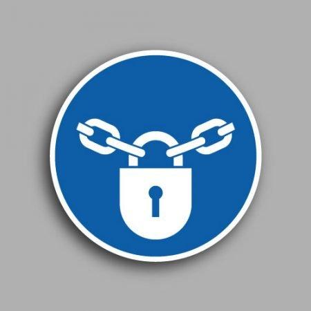 Etichetta con simbolo ISO 7010 M028 obbligatorio tenere chiuso