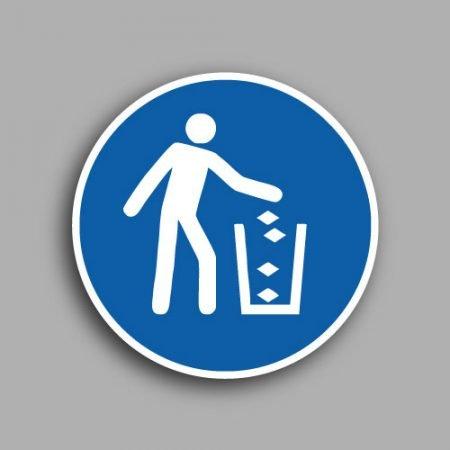 Etichetta con simbolo ISO 7010 M030 | Obbligatorio versare i rifiuti dal contenitore
