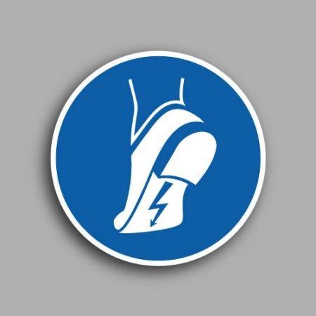 Etichetta con simbolo ISO 7010 M032 | Obbligatorio indossare le calzature antistatiche