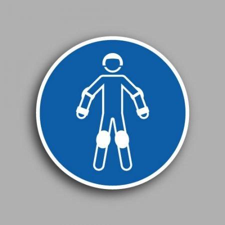 Etichetta con simbolo ISO 7010 M049 | Obbligatorio indossare i dispositivi di protezione sui pattini a rotelle