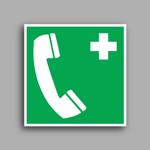 E004 etichetta adesiva con simbolo telefono di emergenza