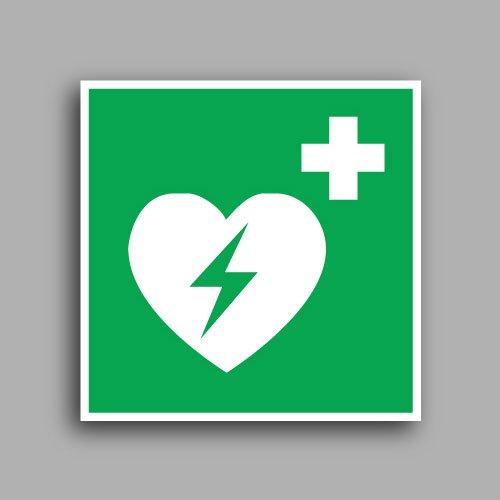 E010 etichetta adesiva con simbolo defibrillatore esterno di emergenza