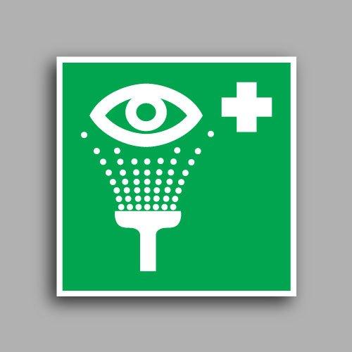 E011 etichetta adesiva con simbolo lavaocchi di emergenza