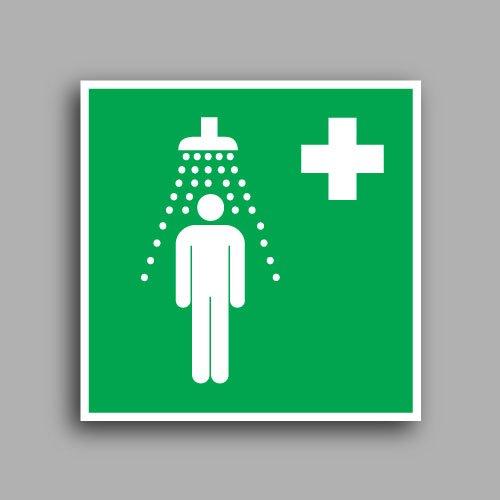 E012 etichetta adesiva con simbolo doccia di emergenza