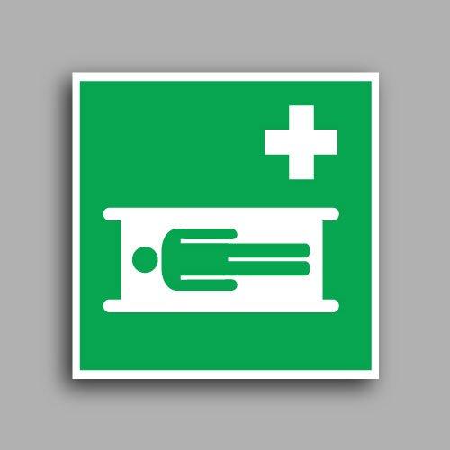 E013 etichetta adesiva con simbolo barella di emergenza