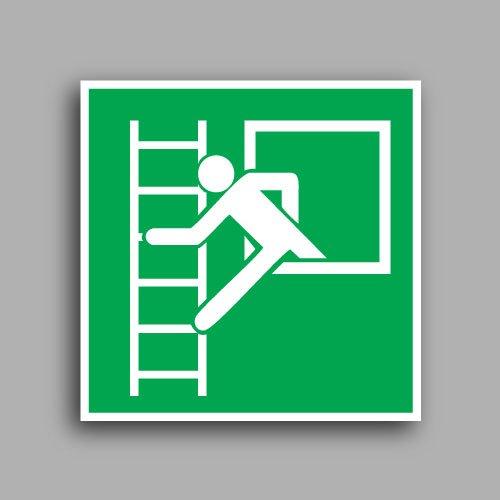 E016B etichetta adesiva con simbolo finestra di emergenza con scala di emergenza