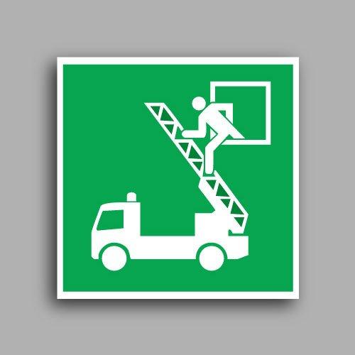 E017 etichetta adesiva con simbolo finestra di salvataggio