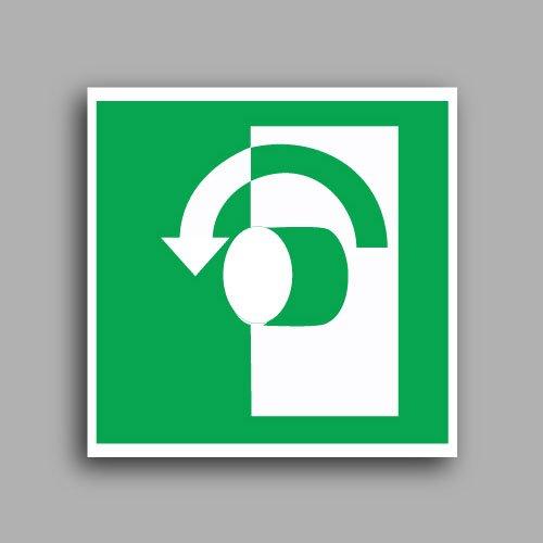 E018 etichetta adesiva con simbolo girare la maniglia in senso antiorario